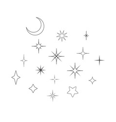Moon and stars design elements vector