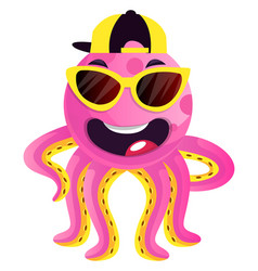 octopus with sunglasses and hat on white vector image