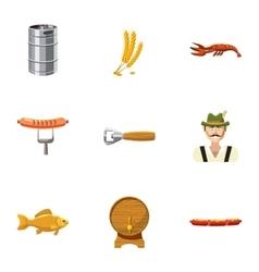 Oktoberfest icons set cartoon style vector