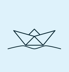 Paper boat on the waves vector