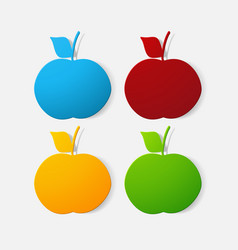 Paper clipped sticker fruit apple vector