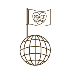 Peace and love on flag and earth globe isolated vector
