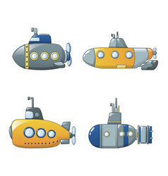 Periscope telescope icons set cartoon style vector
