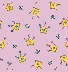 Princess crowns and diamonds seamless pattern on vector