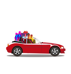 Red modern cartoon cabriolet car full of gift vector