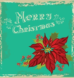 Retro Christmas greeting card with flower vector image