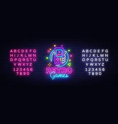 Retro games logo retro geek gaming gamepad vector