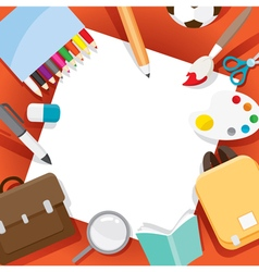 School Supplies Objects On Frame vector