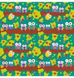 seamless pattern set bright colorful owls on the vector image