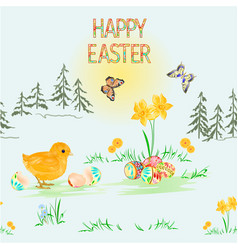 Seamless texture happy easter spring landscape vector