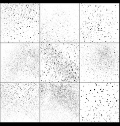 Set black grainy texture isolated on white vector