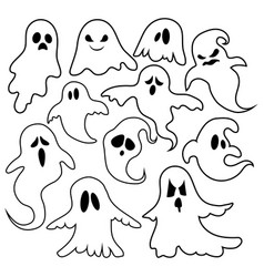 set ghosts collection ghosts for halloween vector image