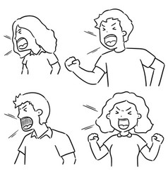 Set shouting people vector
