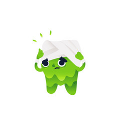 Sick and painful tooth character holding head with vector