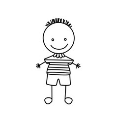 silhouette hand drawing cute boy with striped vector image