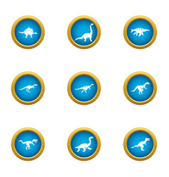 skin saurian icons set flat style vector image