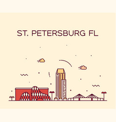 st petersburg skyline pinellas florida usa vector image
