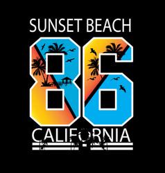 sunset beach california for t shirt vector image