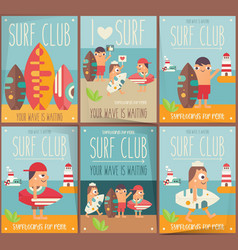 Surf posters set vector