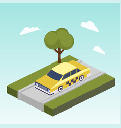 taxi car on road isometric vector image vector image