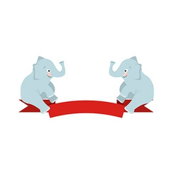 The flat figure two elephant sit on Red Ribbon vector image