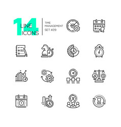 time management - set line design style icons vector image