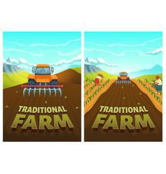 Traditional farm cartoon poster tractor plow field vector