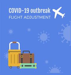 Travel baggage on coronavirus background vector