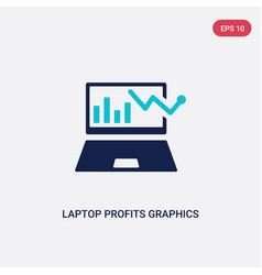 Two color laptop profits graphics icon from vector