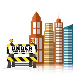 under construction barrier road building vector image