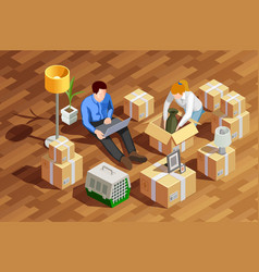 Unpacking boxes isometric composition vector