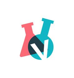 V letter lab laboratory glassware beaker logo icon vector