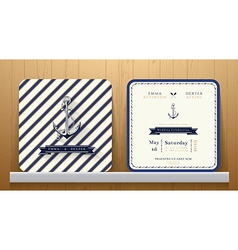 Vintage Nautical Anchors Wedding Invitation Card vector