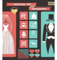 Wedding infographic set with flat iconswedding vector