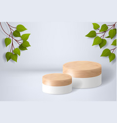 white wooden podium on a background vector image