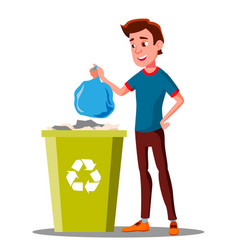 young guy throwing trash bags into container vector image