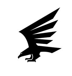 Black eagle geometric heraldic icon vector image
