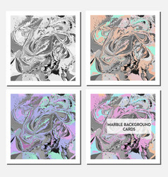 cards design template with abstract marbling vector image