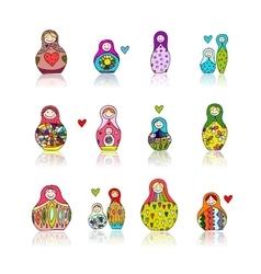 Collection of russian nesting dolls Matryoshka vector image vector image