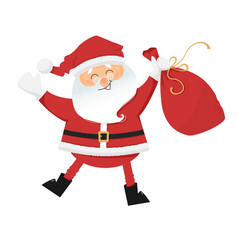 dancing santa claus with sack of gifts vector image vector image