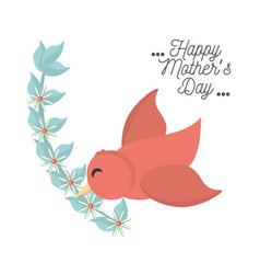 happy mothers day bird flying with branch flower vector image vector image