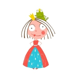Little princess standing with prince frog sitting vector