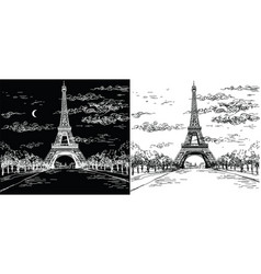 Night and day landscape with eiffel tower in vector