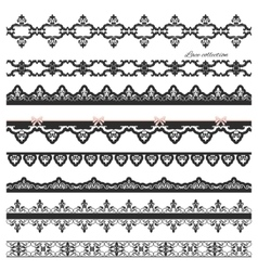 Set of black straight lace Lines Borders vector image
