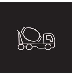 Concrete mixer truck sketch icon vector image vector image