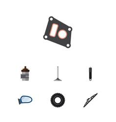 Flat parts set of auto component combustion car vector