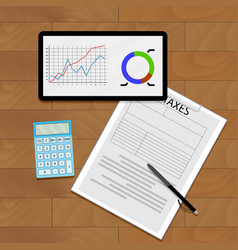 graph chart and taxes vector image vector image