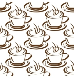Seamless background with cups of coffee vector image