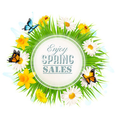 Spring sale background with a green grass and vector