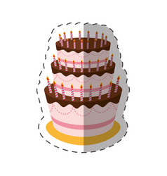cake birthday candles dessert shadow vector image vector image